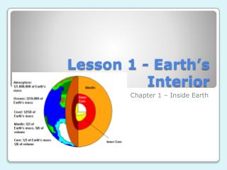 Lesson 1 - Earth�s Interior