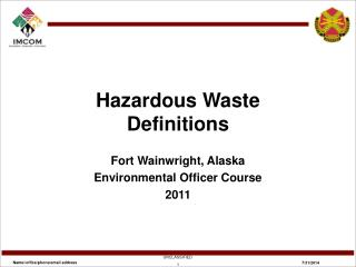 Hazardous Waste Definitions