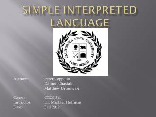 Simple Interpreted Language