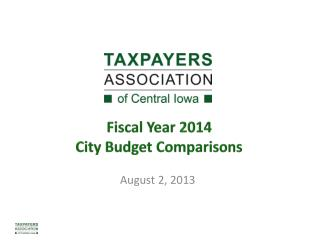 Fiscal Year 2014 City Budget Comparisons