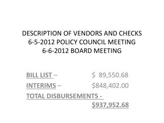 DESCRIPTION OF VENDORS AND CHECKS 6-5-2012 POLICY COUNCIL MEETING 6-6-2012 BOARD MEETING