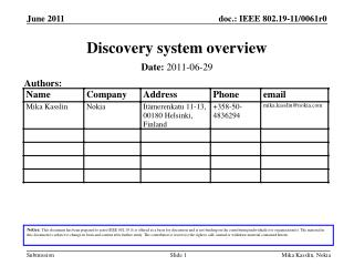 Discovery system overview