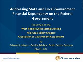 Addressing State and Local Government Financial Dependency on the Federal Government