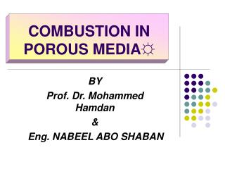 COMBUSTION IN POROUS MEDIA?
