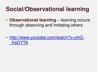 Social/Observational learning