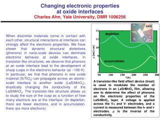 Changing electronic properties  at oxide interfaces  Charles  Ahn , Yale University, DMR 1006256