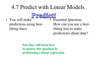 4.7 Predict with Linear Models
