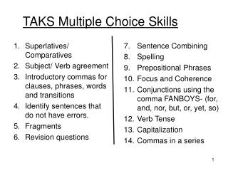 TAKS Multiple Choice Skills