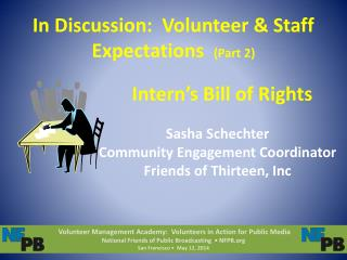 In Discussion:  Volunteer & Staff Expectations   (Part 2)