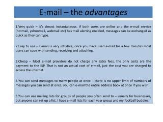 E-mail – the  advantages