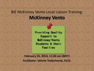 BIE McKinney Vento Local Liaison Training: McKinney Vento