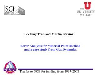 Error Analysis for Material Point Method and a case study from Gas Dynamics