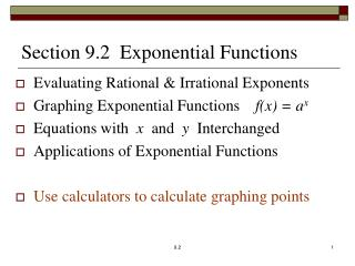 Section 9.2  Exponential Functions