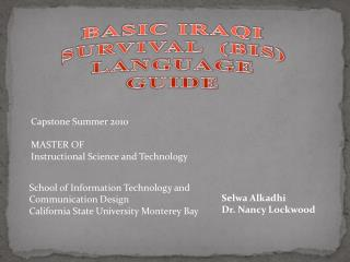 BASIC IRAQI SURVIVAL  (BIS)  LANGUAGE GUIDE