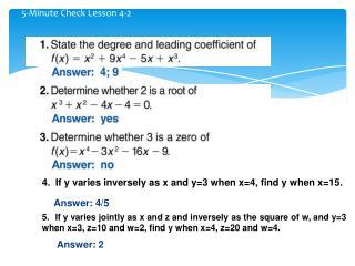 5-Minute Check Lesson 4-2