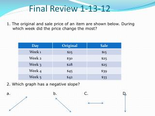 Final  Review  1-13-12