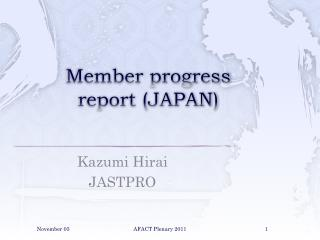 Member progress report (JAPAN)