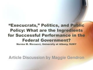 Article Discussion by Maggie Gendron