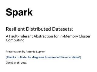Spark Resilient Distributed Datasets: