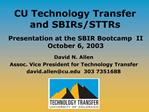 CU Technology Transfer and SBIRs