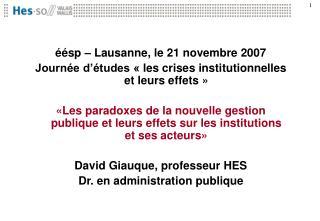 éésp – Lausanne, le 21 novembre 2007