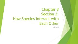 Chapter 8 Section 2: How Species Interact with Each Other
