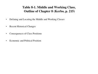 Table 8-1. Middle and Working Class,  Outline of Chapter 8 (Kerbo, p. 215)