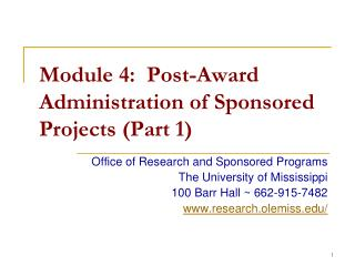 Module 4:  Post-Award Administration of Sponsored Projects (Part 1)