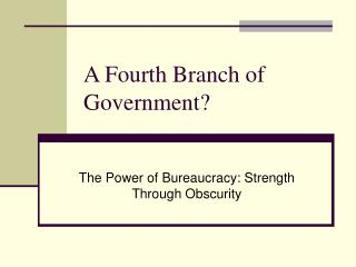 A Fourth Branch of Government?