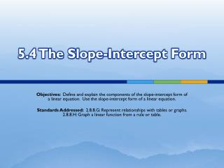 5.4 The Slope-Intercept Form