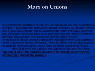 Marx on Unions