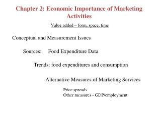 Chapter 2: Economic Importance of Marketing Activities