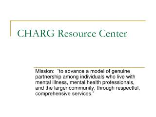 CHARG Resource Center