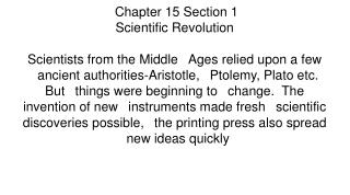 Chapter 15  Section 1 Scientific Revolution