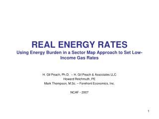 REAL ENERGY RATES Using Energy Burden in a Sector Map Approach to Set Low-Income Gas Rates
