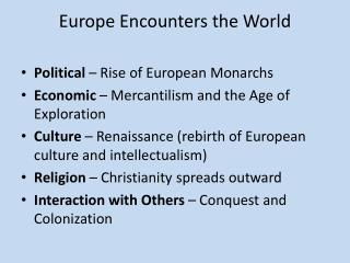 Europe Encounters the World