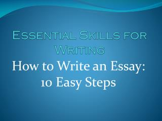 Essential Skills for Writing