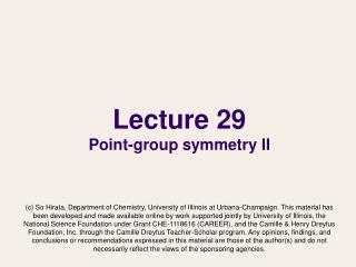 Lecture 29 Point-group symmetry II