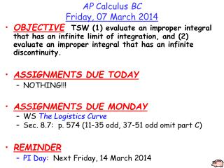 AP  Calculus  BC Friday, 07 March 2014