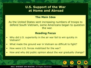 U.S. Support of the War  at Home and Abroad
