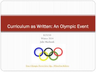 Curriculum as Written: An Olympic Event