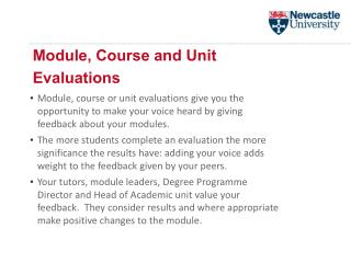 Module, Course and Unit  Evaluations