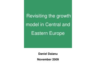 Revisiting the growth model in Central and Eastern Europe