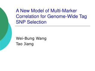 A New Model of Multi-Marker Correlation for Genome-Wide Tag SNP Selection