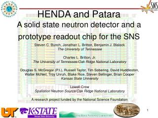 HENDA and Patara A solid state neutron detector and a prototype readout chip for the SNS