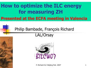 How to optimize the ILC energy              for measuring ZH