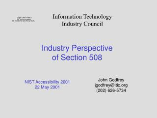 Industry Perspective  of Section 508
