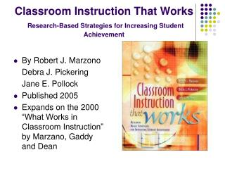 Classroom Instruction That Works Research-Based Strategies for Increasing Student Achievement