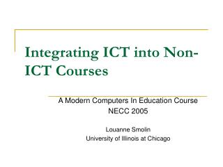 Integrating ICT into Non-ICT Courses