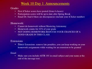 Week 10 Day 1  Announcements